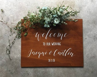 Welcome Wedding Sign. Welcome To Our Wedding Custom Wooden Signage. Vintage Wedding Decoration. Event Sign. Ceremony Sign.