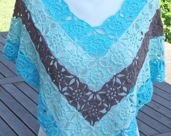 Carribbean Summer Crochet Poncho, turquoise and brown
