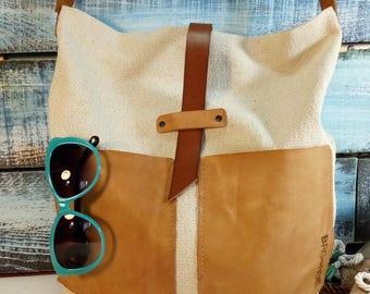 Linen fabric bag leather strap pockets vintage Carry all tote  bag Messenger Work CrossBody Linen boho simple crossbody Leather strap summer