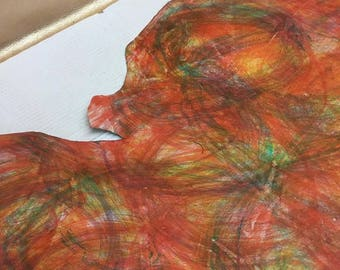 Multi Color Leather Hide, 1.2-1.4 mm, tie dye, pattern, colorful leather, bookbinding, crafts, leather work