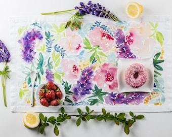 Floral Tea Towel flower power Lupinus Roses Peonies kitchen towel