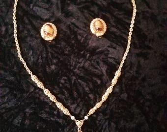 Vintage Tiger's Eye Necklace & Earrings set/West Germany