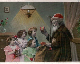 Vintage Christmas Postcard Santa with Brown Robe and Children Germany c.1910