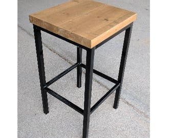 modern industrial bar stool w wood top