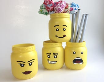Dorm Decor, Back to School Supply, college student dorm decor, pencil holder, pencil cup, mason jar, lego gift, mini planter, desk set,