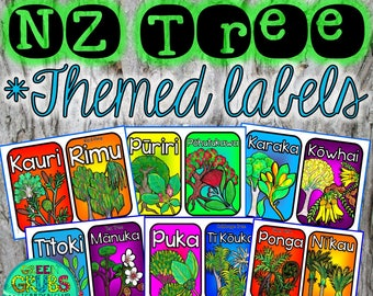 New Zealand Native Tree Themed Box Labels