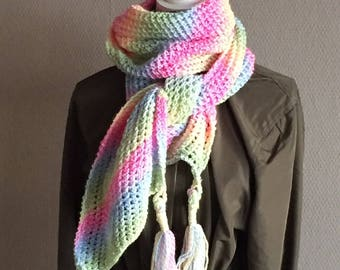 Hand knitted Scarf Rainbow