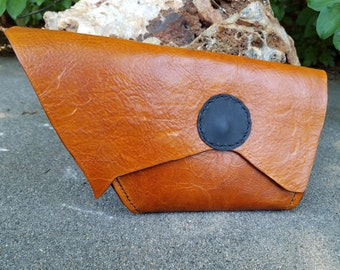 Rusty Brown Leather Clutch