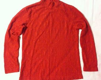 90s Vintage Red Lace Mock Neck Top, Vintage Red Lace Shirt Blouse, Vintage Red Lace Blouse, Red Lace Top