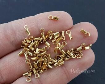 50 Pc, Gold Cord Ends, Cord Tip Clapms, Mini Cord Clasps, Mini Crimp Ends, Leather Cord Crimp Connectors, Gold Plated Crimps