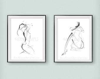 32-07, female nude figure drawing minimalist sketch pencil drawing art simple line abstract prints from original art by Ann Adams Set of 2