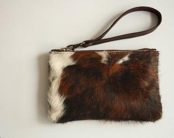 zipper cowhide pouch, cowhide clutch, cosmetic bag, brown cowhide clutch purse, cowhide cosmetic bag, cowhide purse, cow hide clutch