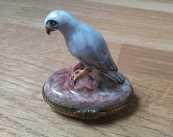 Falcon Limoges porcelain pill box rare French white. Trinket Box. Falcon Limoges Box