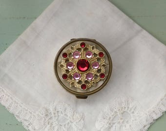 Vintage pink and Red Crystal and brass pill box