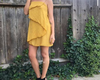 Gold Layered Spaghetti Strap Dress
