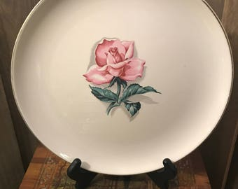 Vintage Dinner Plate By TST Taylor Smith Taylor Versatile - Single Pink Rose In Center - Gold Trim
