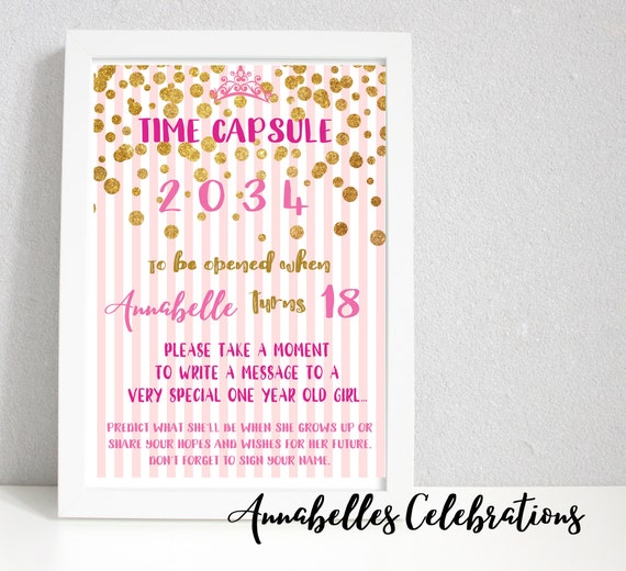 First Birthday Keepsake Time Capsule & Cards For Guests