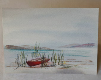 "Watercolor, Watercolors, landscape, marine, vintage, decoration, ""Calm Icelandic"""