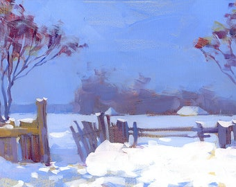 Snow art Oil painting Canvas Art Modern Painting Wall Decor Bedroom Décor Winter painting Landscape painting Rustic painting winter village