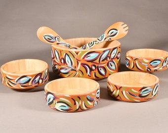 Bamboo Hand Painted Salad Bowl Set