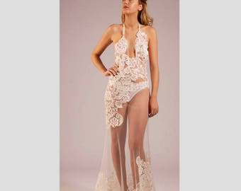 Ivory lace and sheer gown with knickers