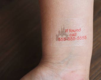Set of 6 Temporary Tattoos-Safety ID, Emergency, Contact Information, If Lost, If found, Please Call, Theme Park, Family Vacation,Field Trip