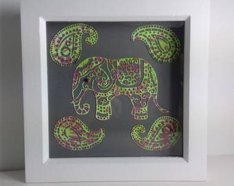 Hand painted elephant in white frame