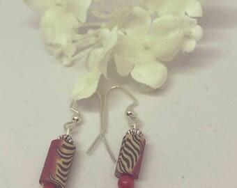 Red Zebra Earrings