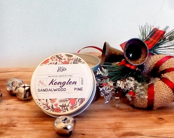 KONGLEN // Sandalwood & Pine Soy Candle // 6oz. Candle Travel Tin // Hand Poured // Christmas Gift // All Natural Candle // Luxury