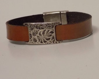 Tan Leather Bracelet with Silver - Leather Bracelet - Leather Jewelry - Women's Leather Bracelet - Men's Leather Bracelet