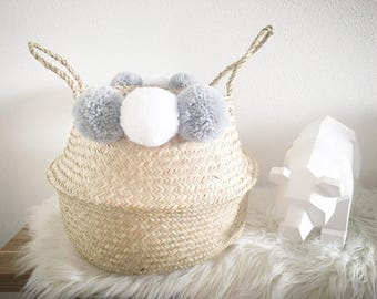 Basket white Nordic style tassels