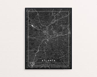 Atlanta Black City Map Print, Clean Contemporary poster fit for Ikea frame 24x34 inch, gift art him her, Anniversary personalized travel