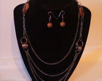 Brown 2 Pc. Set Costume Jewelry Set