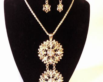 Gold & Rhinestone 2 Pc. Costume Jewelry Set