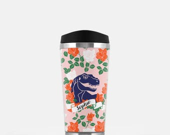 Personalized Travel Coffee Mug, Dinosaur Travel Mug, Floral Travel Mug, Pink Travel Tumbler, Monogram Coffee Mug, Stainless Steel Mug, 16 oz