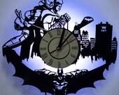 Batman and Catwoman LED Lighting Wall Clock / Vinyl Record Nightlight Clock