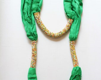 African scarf, Beaded scarf, Kenyan scarf, Fashion scarf, Women scarf, Beautiful scarf, Green scarf, Bead scarf