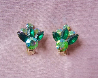 CELEBRITY N.Y. Rhinestone Clip On Earrings - Prong set Rhinestone Jewelry - Green Rhinestones - Elegant/ Fancy Jewelry