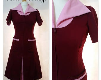 VINTAGE 1960's 1970's WINE & PINK Collared Shirt Dress, Size 10, Mod, Scooter, Retro