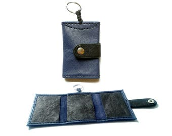 Key and Navy blue leather card holder and black