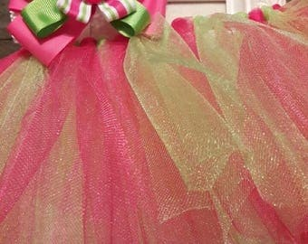 Hot Pink and Green Tutu with Matching Bow