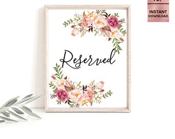 Floral Pink Reserved Card Table Sign, Printable 5x7 8x10 Wedding Table Sign, Script Font Wedding Table Sign, JPEG, PDF, Digital Download