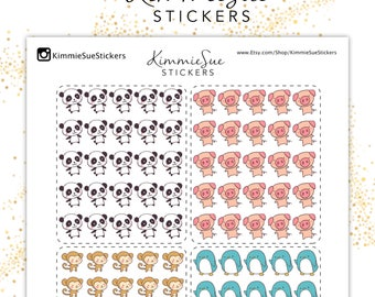 Printable Planner Stickers | Cute Animals | Functional Kit | TN Stickers | Erin Condren Planner | PDF Trace Files | Stickers Printable