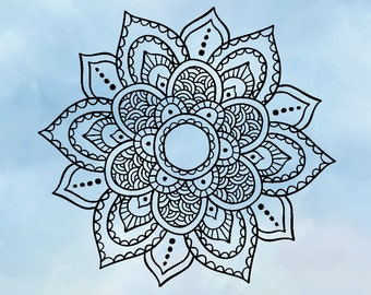 Floral Mandala SVG- Silhouette or Cricut Design- Instant Access- Commercial Use- Mandala PNG- Vinyl Decal- Cutting Flower- Silhouette DXF