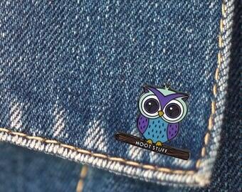 BUY 1, GET 1 Random Pin Free! Hoot Stuff Enamel Pin Owl Pin Lapel Pin Cute Pin Badge Soft Enamel Pin