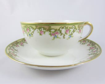 """Vintage Porcelain Nippon Noritake """"The Alsace"""" Pattern Teacup and Saucer with Green Ribbon and Pink Roses"""