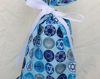 Cloth Gift bag - Hanukkah Gift Wrap -Reusable Gift Bag, Eco Friendly Gift Bag (Medium)