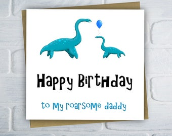 Birthday Card For Dad, Daddy Birthday Card, Dinosaur Birthday Card, Card For Him, Fun Birthday Card, Free UK Shipping
