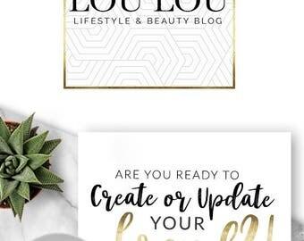 207 - Lou Lou, LOGO Premade Logo Design, Branding, Blog Header, Blog Title, Business, Boutique, Custom, Modern, Geometric, Lines,