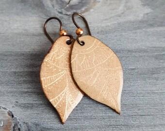 Teardrop Enamel Copper Earrings - Unique leaf shape and fire torch enamel